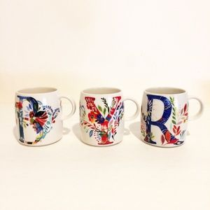 Anthropologie Petal Palette Monogram Mugs Set of 3